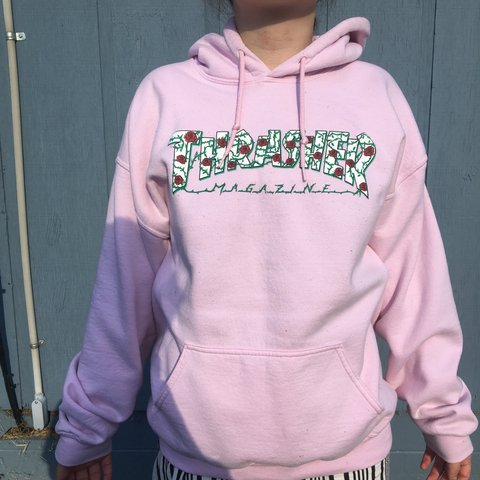 light pink thrasher rose hoodie ! size large but modeled on - Depop 9bcd4f3ec4
