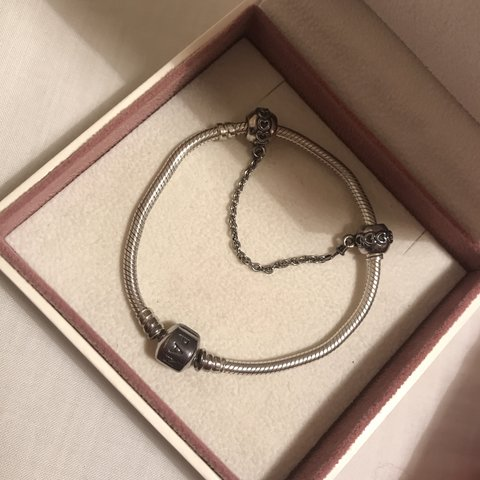 0a8ea74a6 Genuine Pandora bracelet, safety chain (SOLD) and charms for - Depop