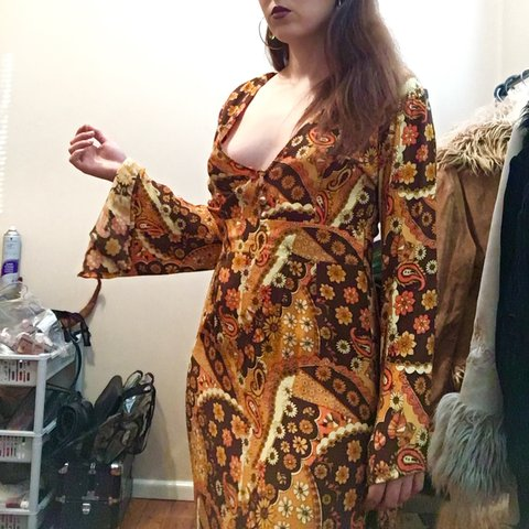 3d02c431b6f2 Nine lives bazar 70s inspired maxi dress with bell sleeves. - Depop