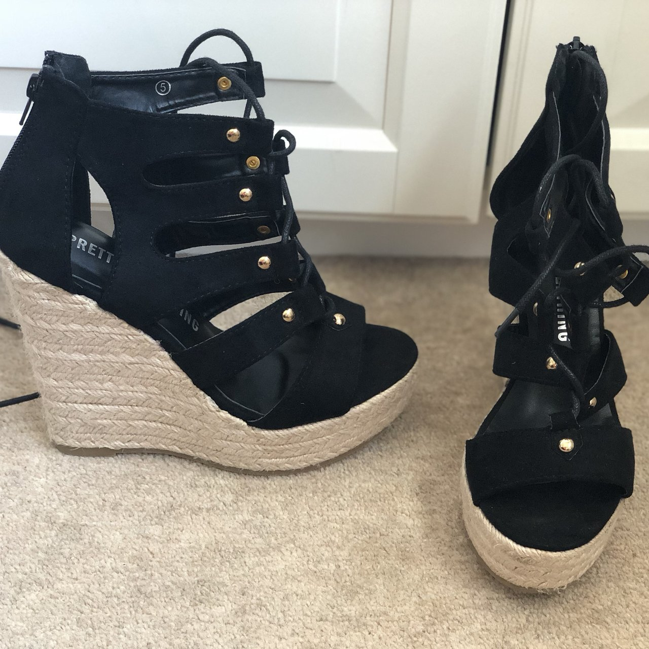 e68224ad43b3 Pretty little thing black lace up wedges 🖤 Worn once at in - Depop