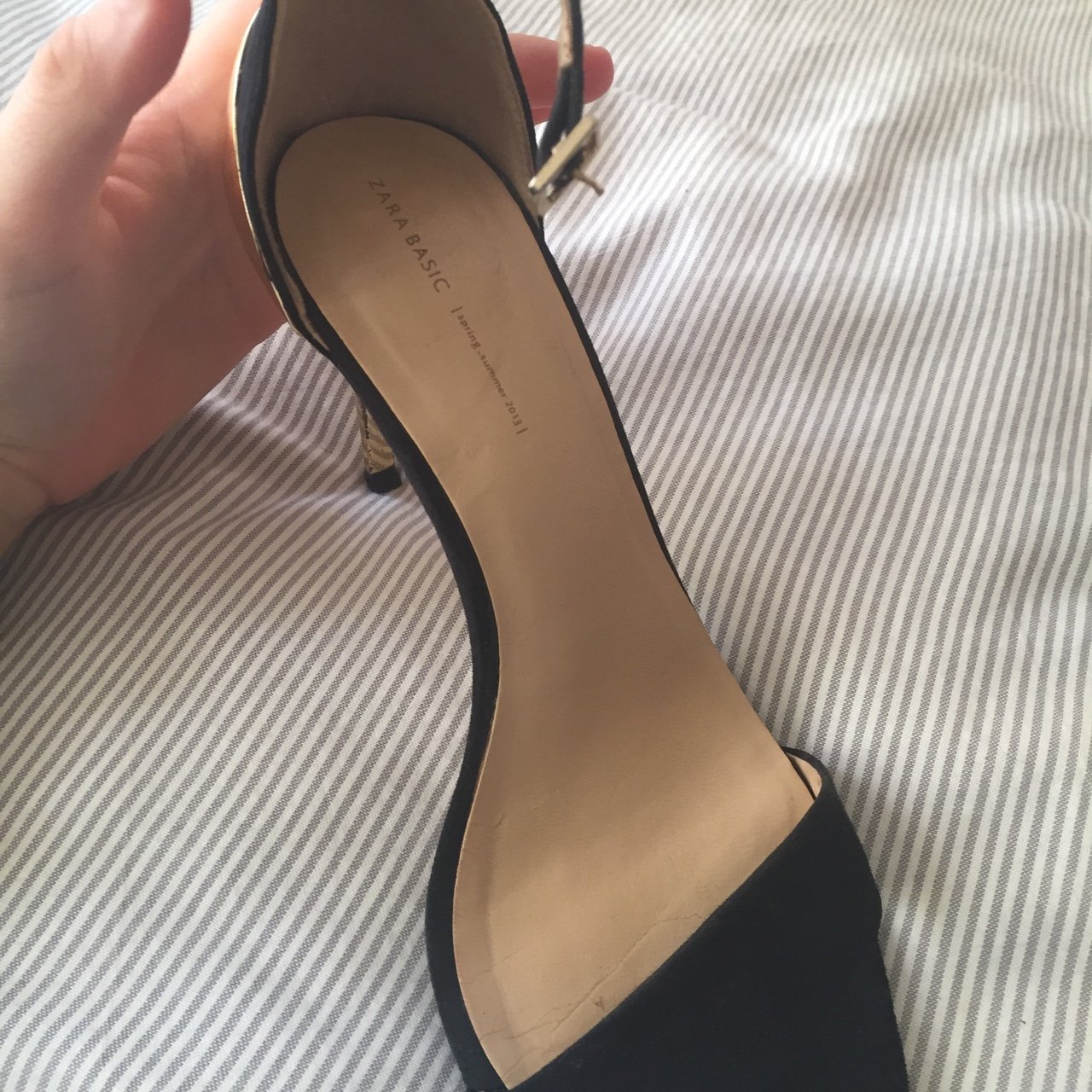 4ece5da22a8 ZARA UK5 strappy black suede heels with gold heel detail - Depop