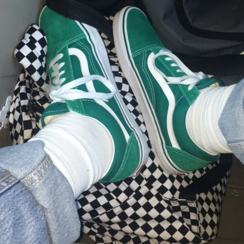 c998a3d7ebb custom green old skool vans!!! Only worn a handful of times. - Depop
