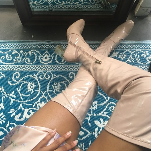 65efe6ab9ee ON HOLD     Thigh high pastel pink lucite heeled boots. Size - Depop