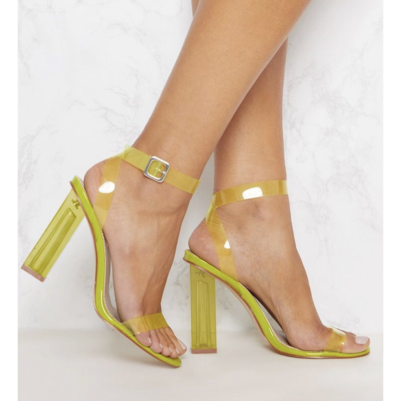 8218f9444e0 Lime neon green perspex clear plastic heels. Absolutely only - Depop