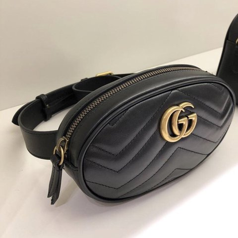 45524ae3b922 @luxedesigner. last year. United Kingdom. Gucci Marmount leather belt bag.