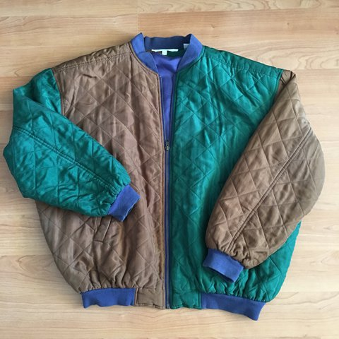 4f57776dee Vintage 90 s Perry Ellis color block quilted bomber style an - Depop