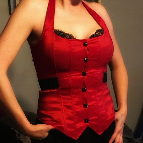 0531a8cd5bf Red LYDIA corset top with black lace and laces up in the as - Depop
