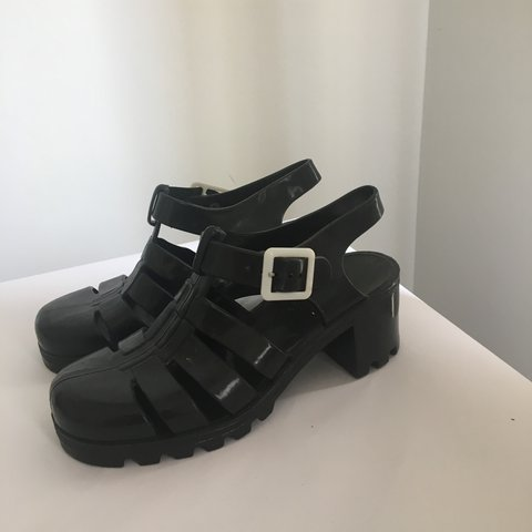 8c66632494c JuJu  Babe  black jelly style sandals. Black jellies in UK - Depop