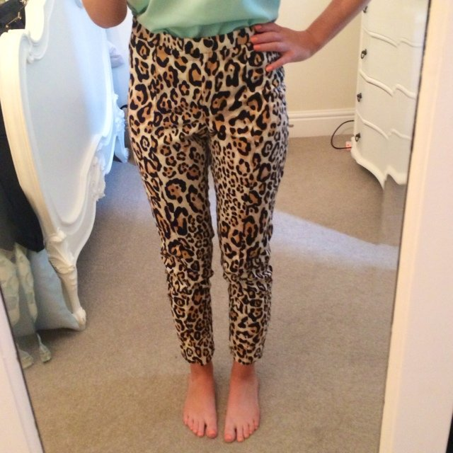 16fbef6ca47b @laurencrossland. 5 years ago. Bridlington, East Riding of Yorkshire, UK. Topshop  petite animal print cigarette trousers. Size 4 petite. Only ...