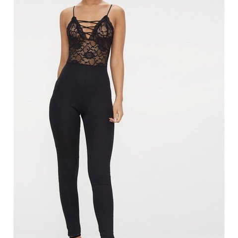 2d18426215c5  lucia shakeshaft. 15 hours ago. United Kingdom. Black lace jumpsuit from pretty  little thing in a size 8