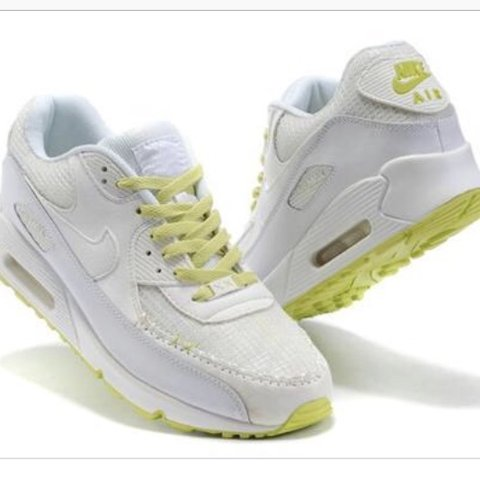 f1384fe37118c Nike Air Max 90 | Size 6 | White with neon yellow | Used but - Depop