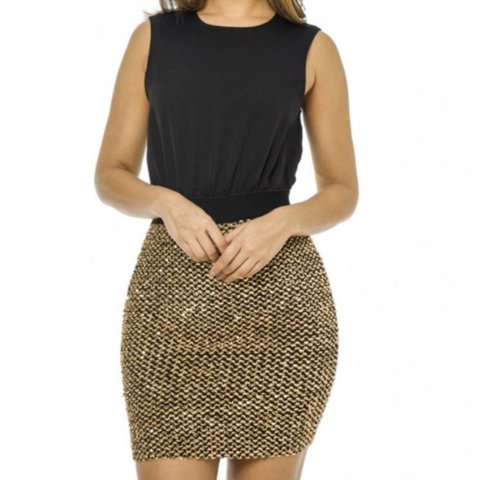 c785e7d14cfb @jadetevanss. last year. Bridgend, United Kingdom. Boohoo black and gold  sequin skirt dress