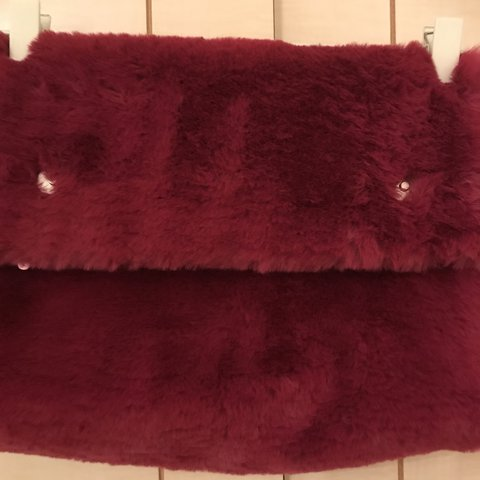 e6262f1fc003 Dark pink faux fur clutch bag with rolled top - Depop