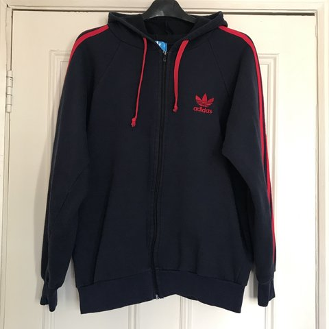 adidas blue with red stripes hoodie sweater jacket. size s. - depop