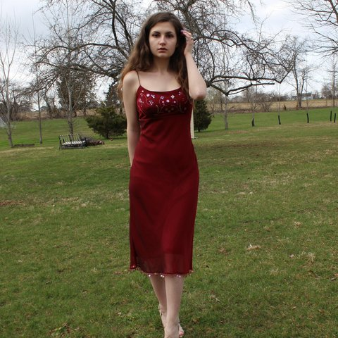 a13f12fae9a9 Express world Brand ™ vintage y2k rust red dress