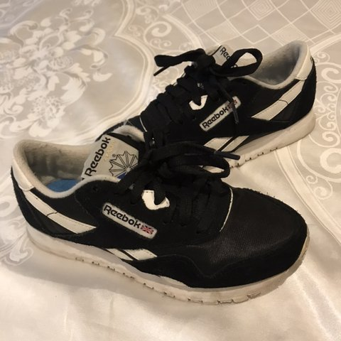 b8382f5f946 Reebok classic nylon sneakers in black and white for sale! a - Depop