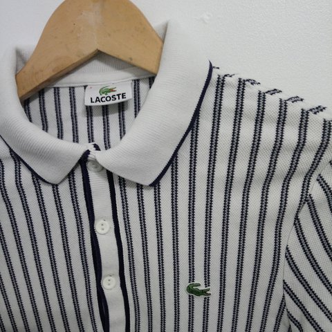 3fa58691 @the_vintage_luke. last year. Langley Moor, County Durham, United Kingdom. Men's  Vintage 90s White and Black Striped Lacoste Polo Shirt ...