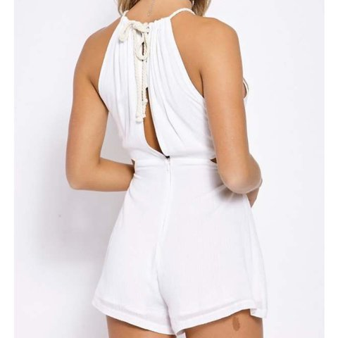 e650c401dd In the style white cut out drawstring playsuit size 8 (would - Depop