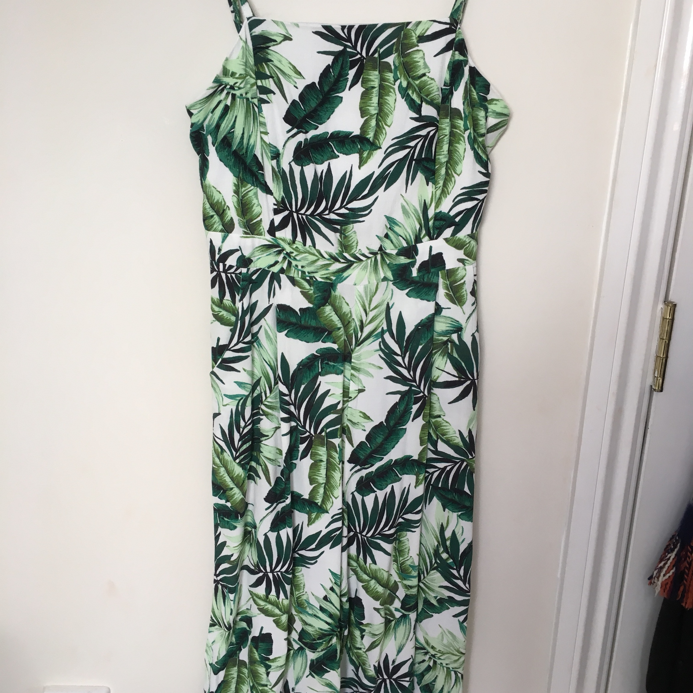 wholesale online for whole family best selling Newlook palm tree Culotte jumpsuit. Only worn once... - Depop