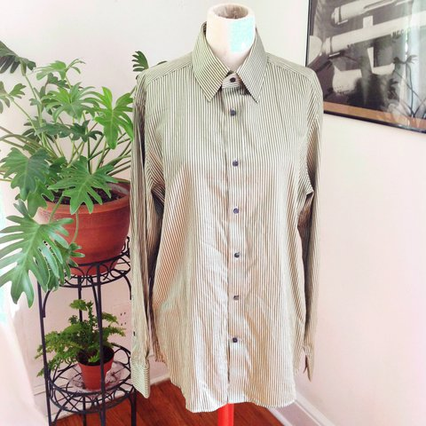 a50fb1185c @misanthropicbiophile. 12 days ago. Windham, United States. H&M Men's  formal button down shirt with vertical green stripes.