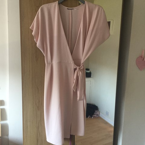 eb4278051c2 Topshop baby pink wrap dress size 8. Worn once still in for - Depop