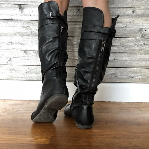 0466af3b23c Black Knee High Boots size 7 - some scuffs in 3rd picture - - Depop