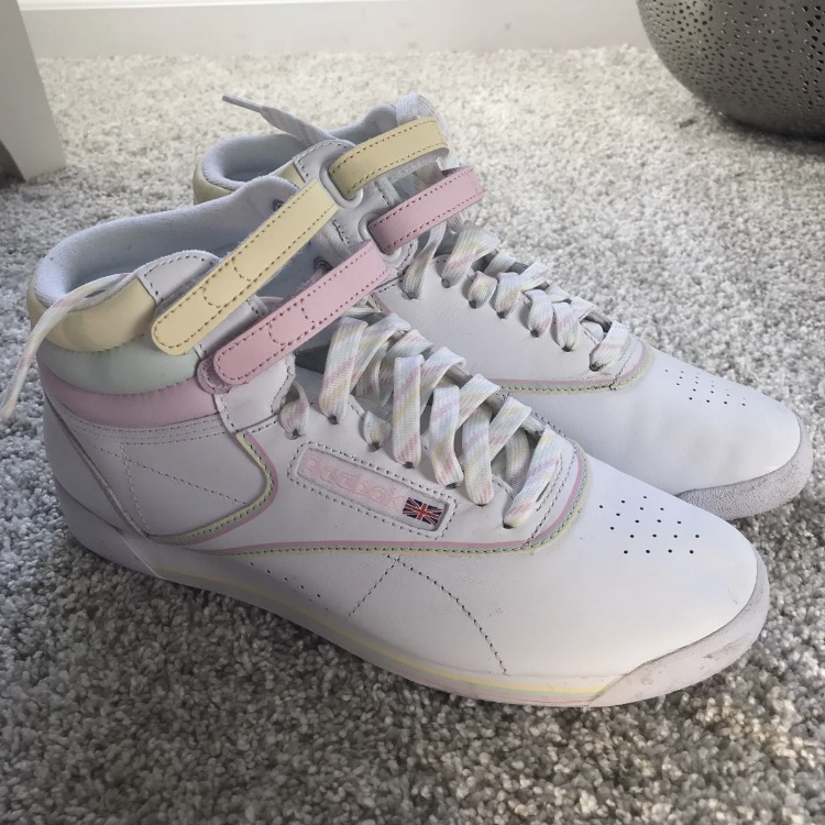 Conveniente Cancelar científico  Reebok Freestyle Hi x GLOW sneakers in white,... - Depop
