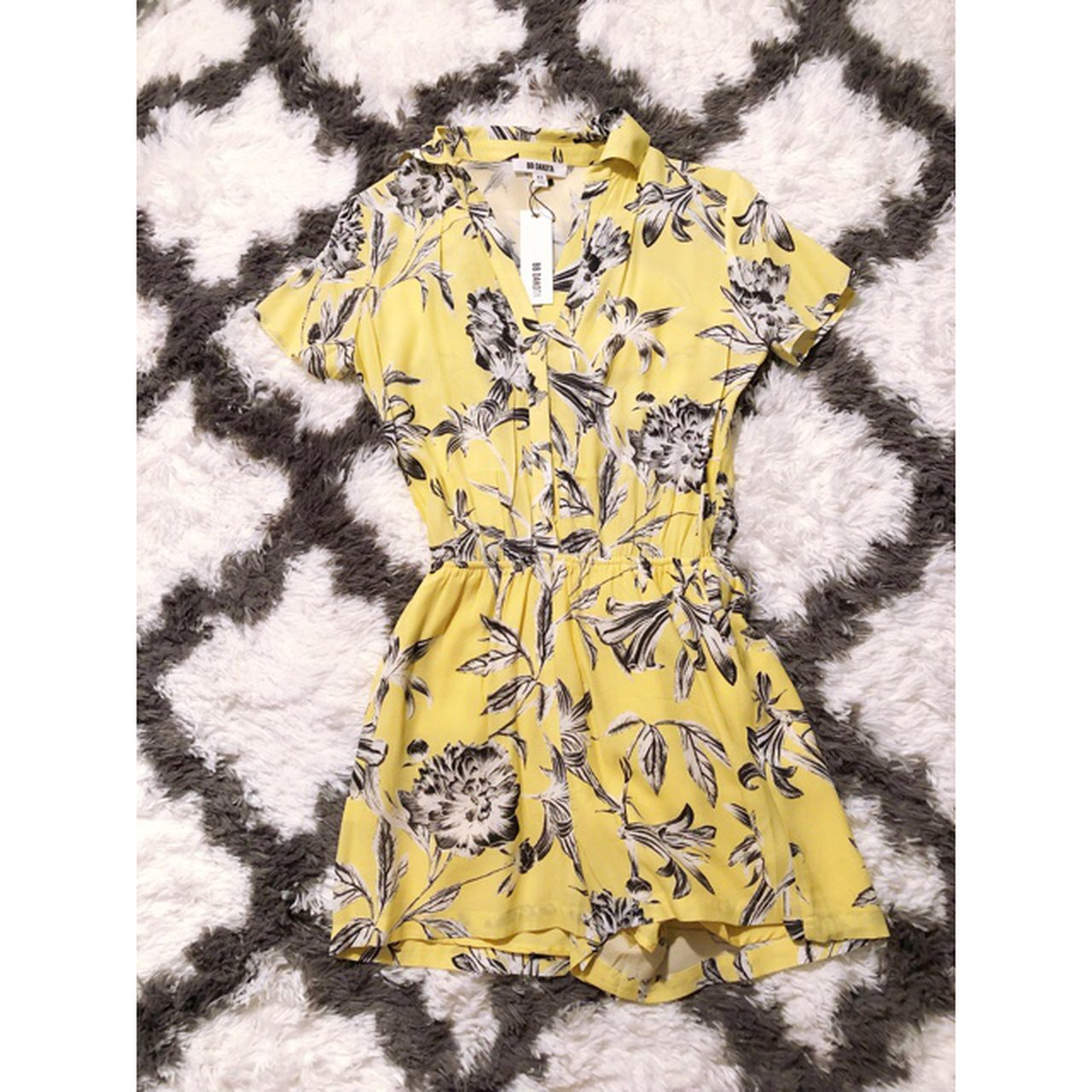 50f59a458 @jennygoro. 8 months ago. Kansas City, United States. BB Dakota Morgana  Yellow Floral Print Romper.