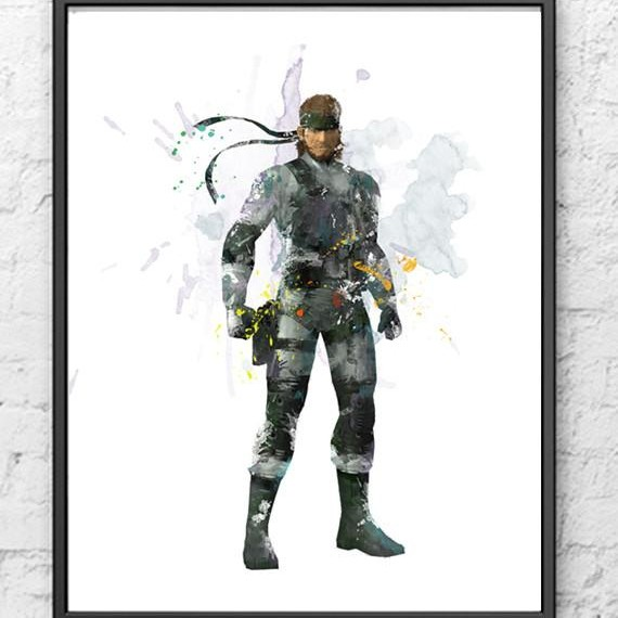 Solid Snake Metal Gear Digital Watercolour Depop