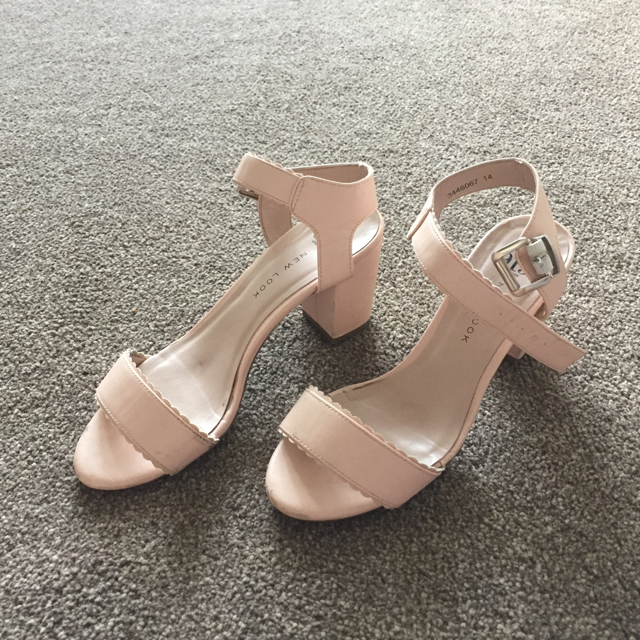 d5e49c245ca Pale pink sandals with a slight block heel and ankle... - Depop