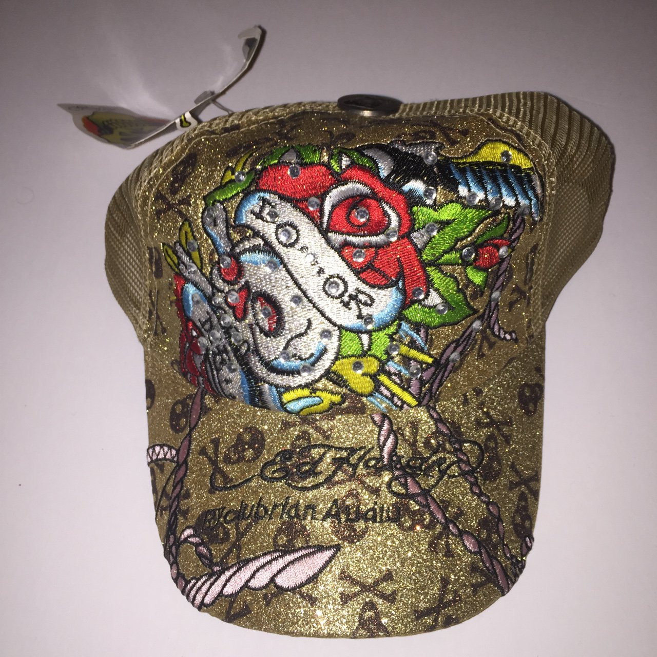 Ed hardy trucker hat. Gold Glitter with classic jeweled