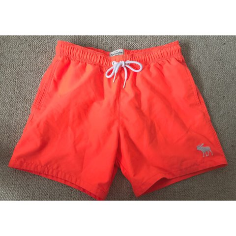 a61fba44bd Men's Abercrombie & Fitch bright orange swim shorts. In says - Depop