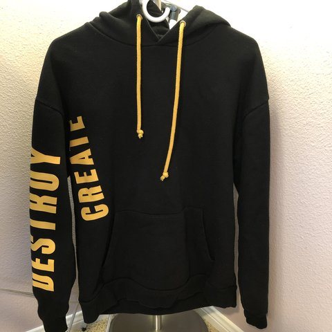 "88aec1f57ad Forever 21 Yellow and Black ""CREATE DESTROY"" hoodie Size S - Depop"
