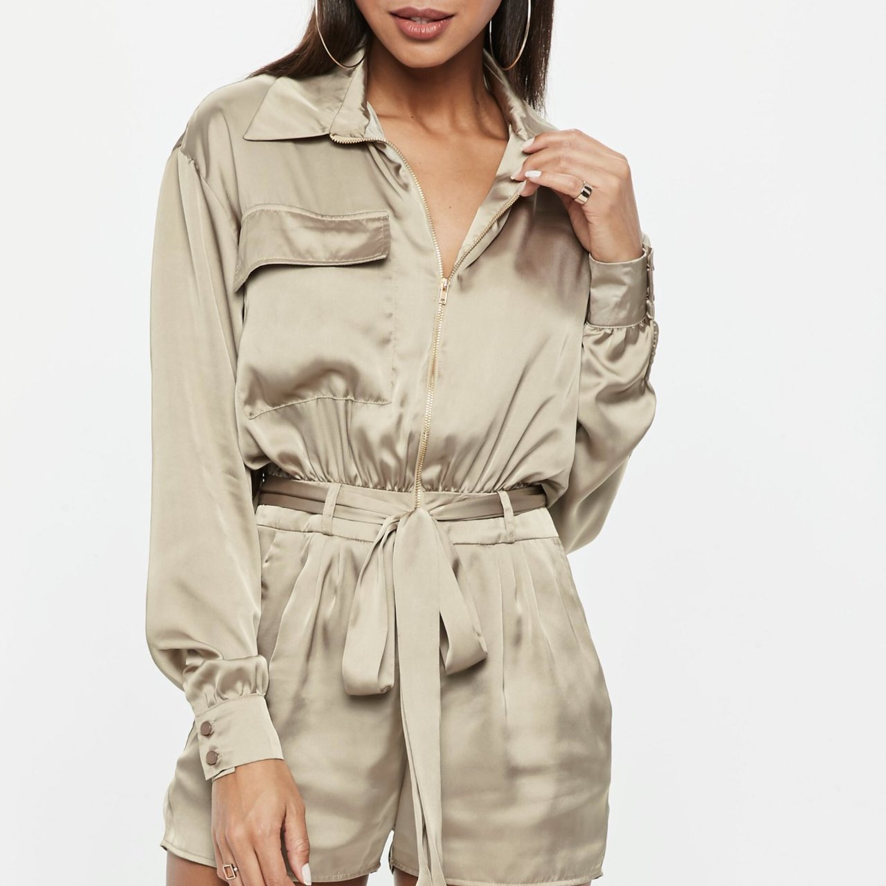 1e0aba7b0da SATIN MISSGUIDED PLAYSUIT SIZE 12 ONLY
