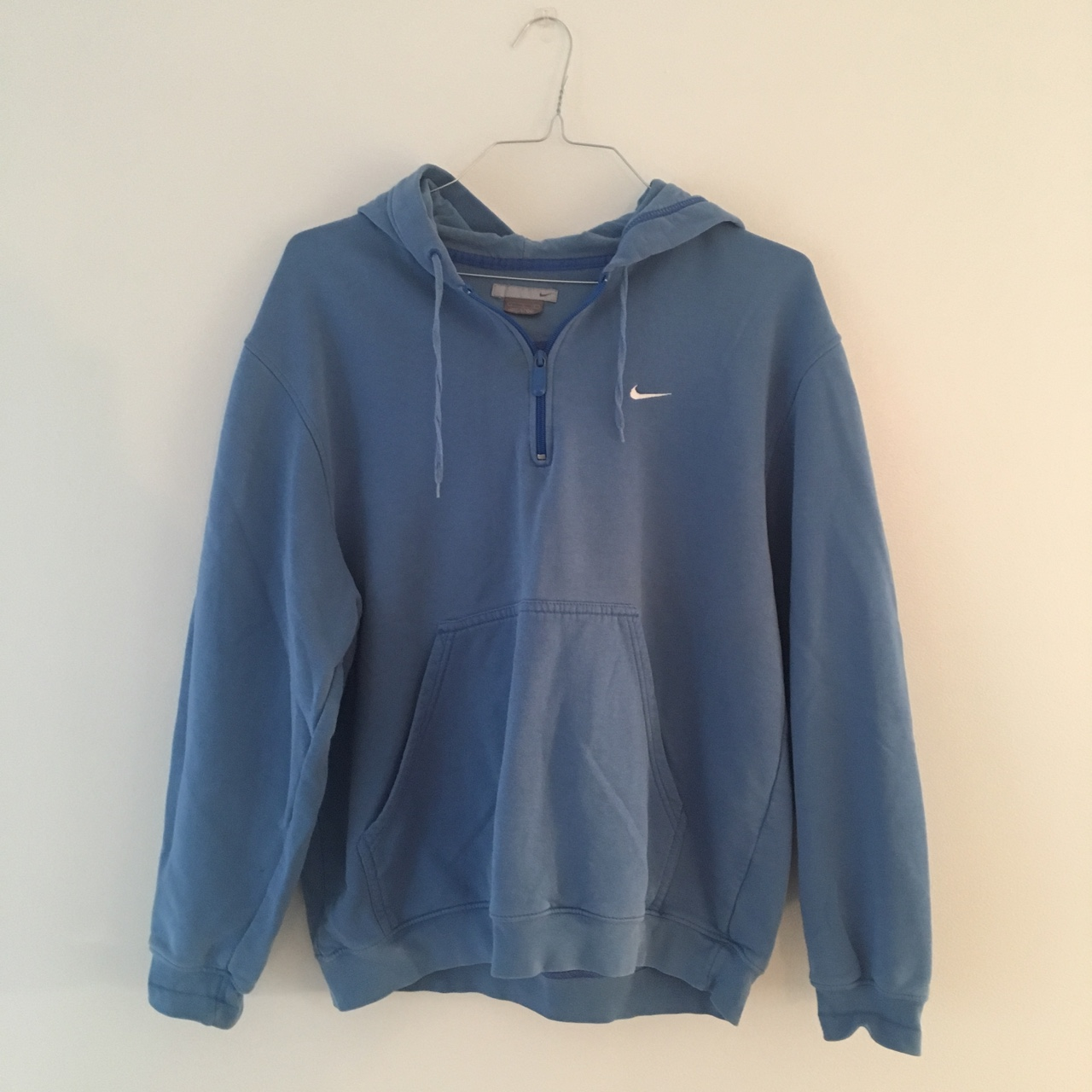 32bea18bad9c Light blue Nike hoodie with pocket and logo!😁 If girl cute - Depop