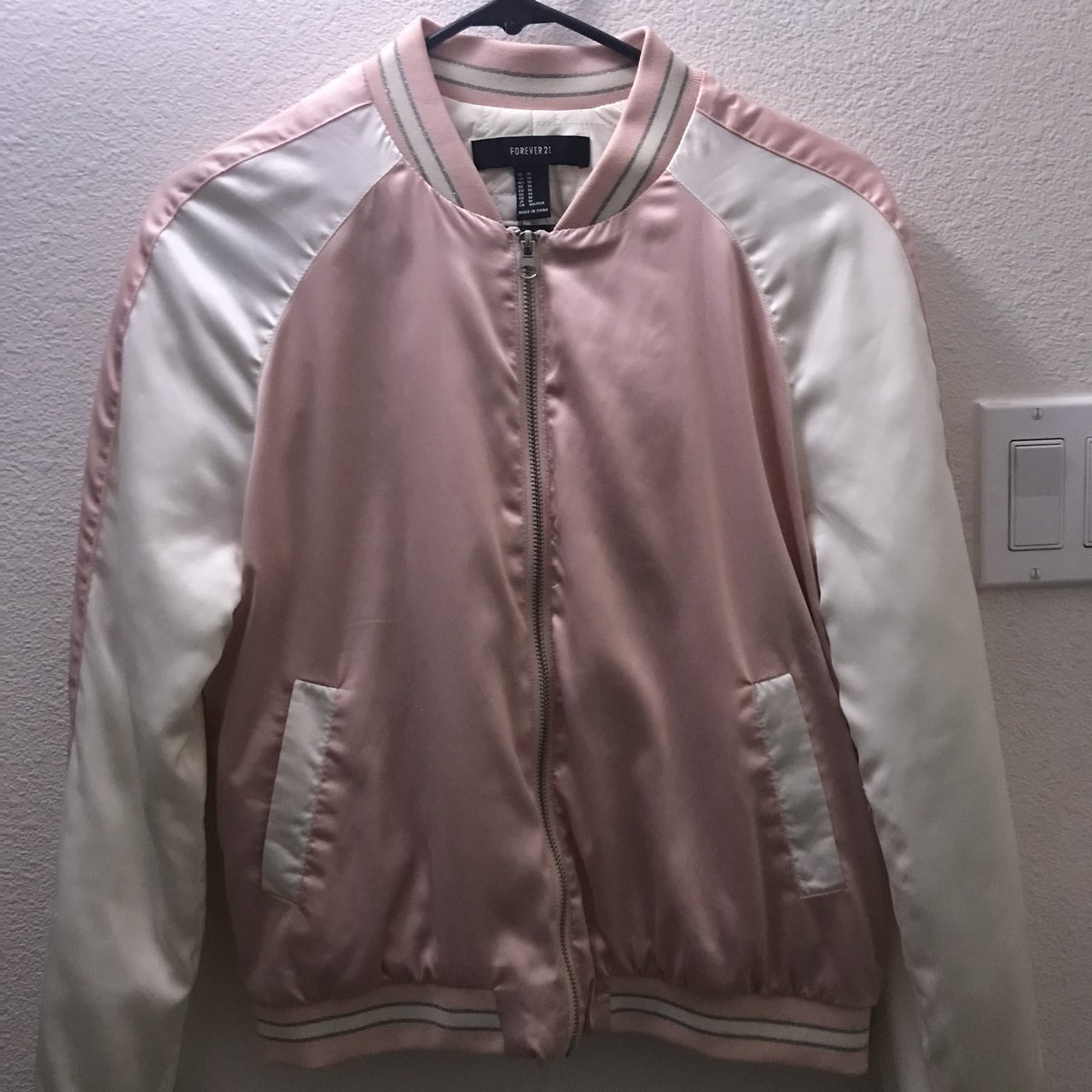 e3daa918a655 pink   white bomber jacket. worn once  PERFECT condition. - Depop