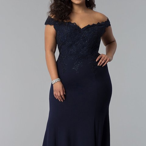 c670d053705 Plus Size Navy Blue Prom dress Prom Girl Size 3XL Very by - Depop