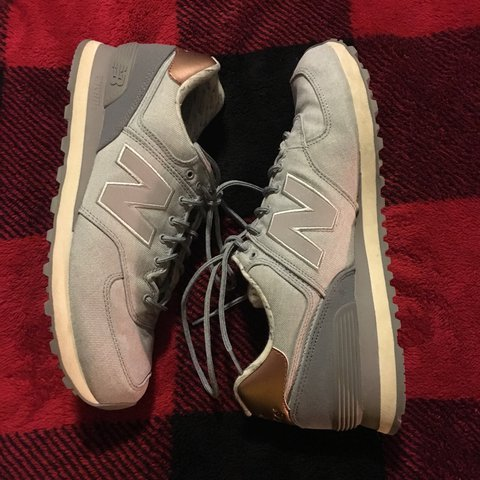 739e2fd54bfe New Balance 574. Grey with Rose Gold heel accent. Only worn - Depop