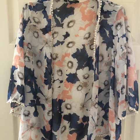 eeb3e531a3e64 @katieedge93. last year. Wrexham, United Kingdom. Floral kimono New Look 8  10 blue orange cream white ...