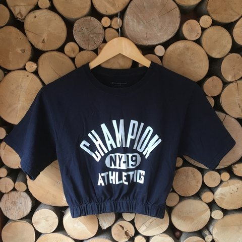 14b6bec330f @victoriajoanne. 8 months ago. Belper, United Kingdom. Champion crop top,  navy blue with white writing ...