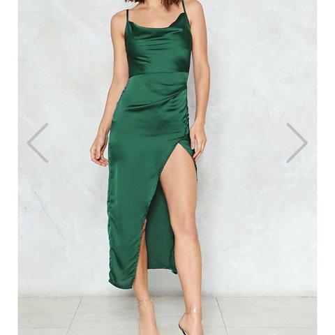 a043f98fc4 NEW WITH TAGS. NASTY GAL emerald green satin maxi style for - Depop