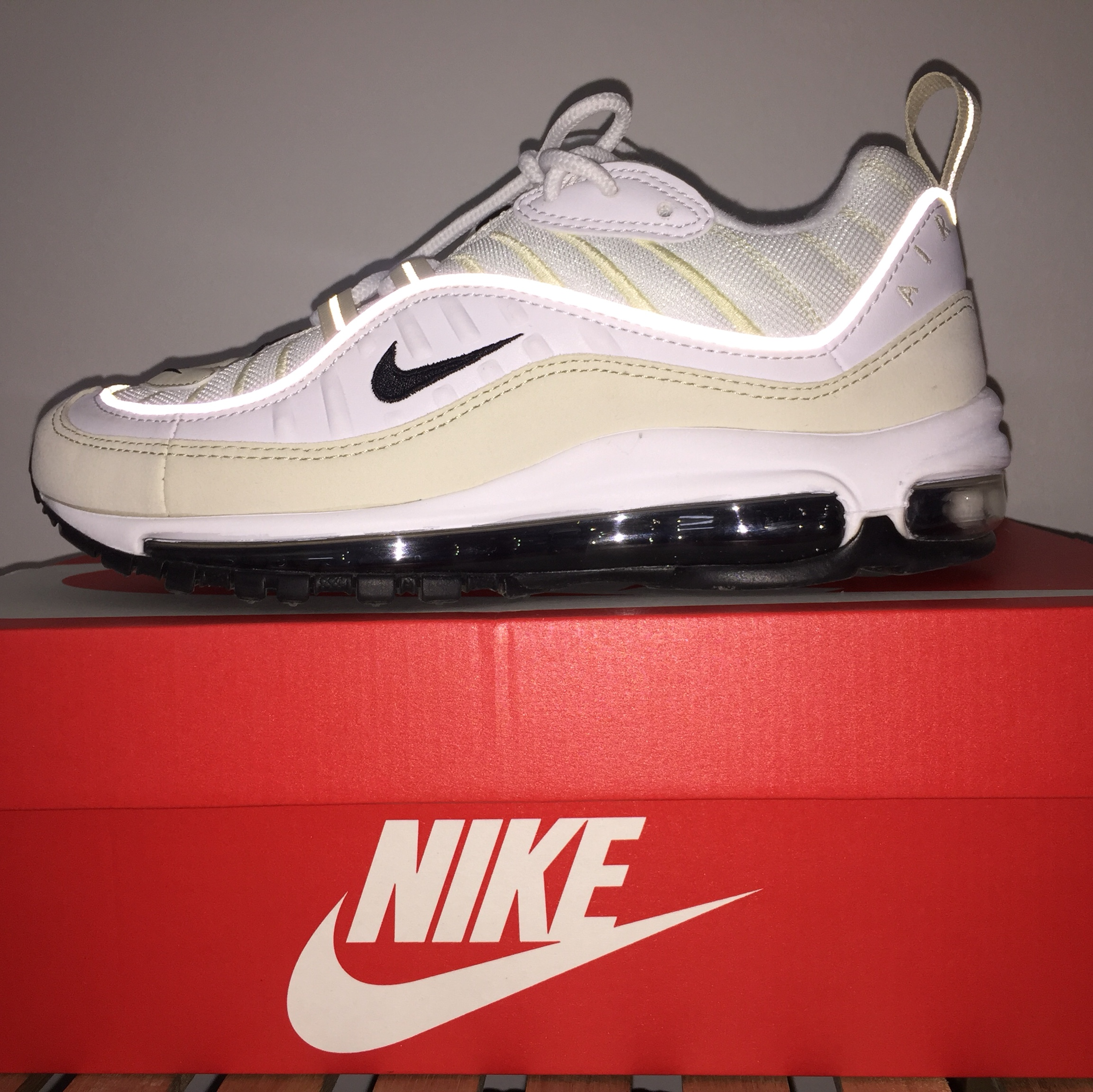 the latest 52cf0 12d6d Nike air max 98 white/black-fossil Never... - Depop