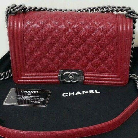 b7cc39f226d8 100% authentic red Chanel Boy bag in Caviar leather. Worn a - Depop