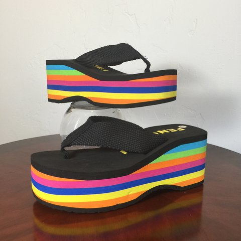 3a3a6015ae13 black + rainbow platform sandals   worn once + in good   37 - Depop