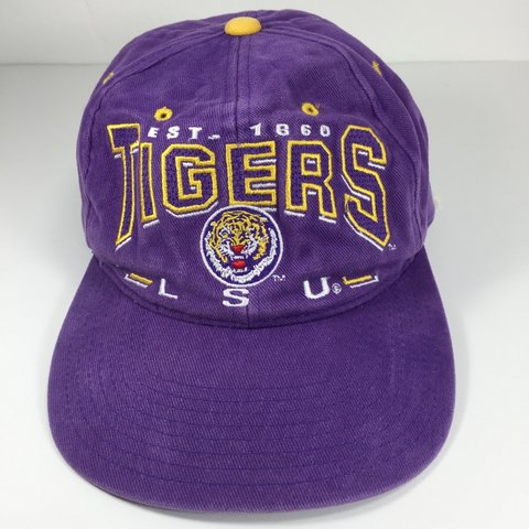 34f27ab62512a6 @twiggyiggy. 23 days ago. San Antonio, United States. LSU tigers hat Snap  Back //100% Cotton //faded //pre-owned. Ships in new box