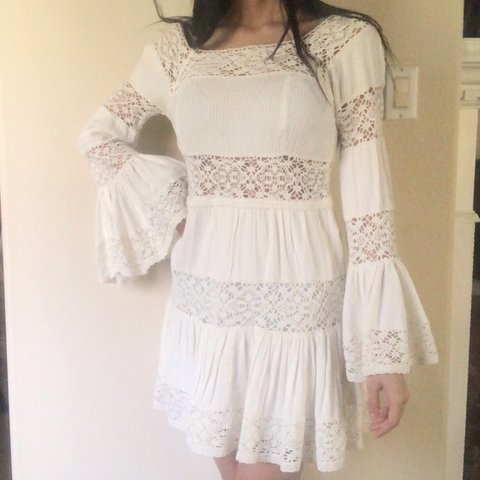 FREE SHIPPING ! white flowy lace dress from free people. but - Depop 09d35424e720