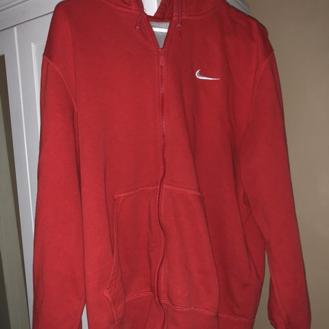 Red Nike zip up hoodie!! super cute and comfy. nize as with - Depop 7ebafa458