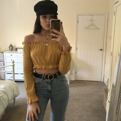 117f94de391f11 Brand new without tags mustard ribbed knitted Bardot off top - Depop