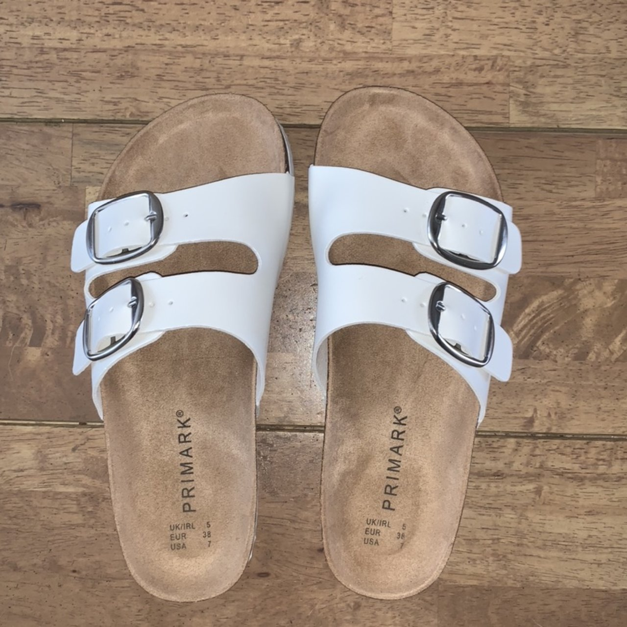 Primark white sandals with two buckles