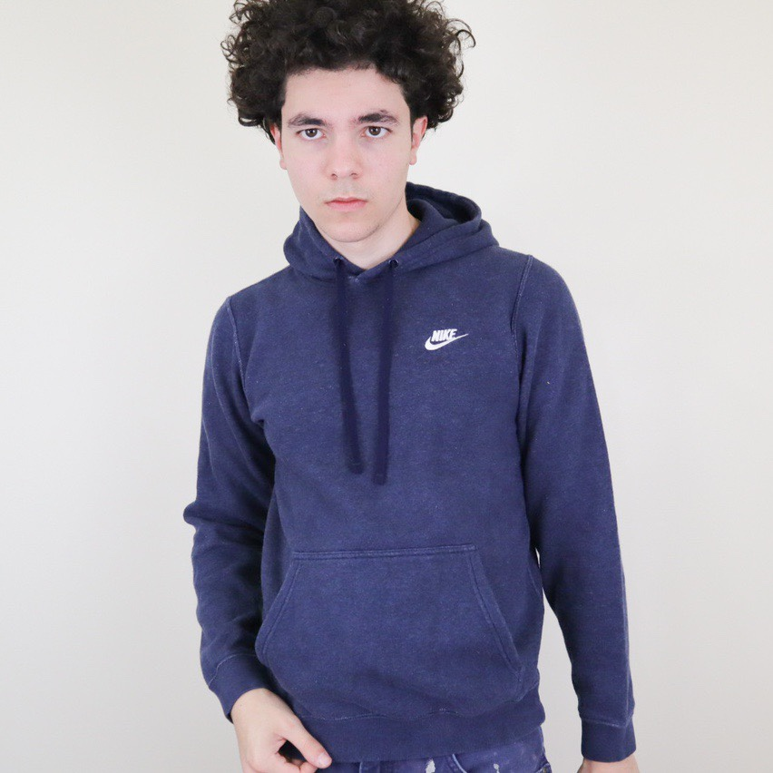 Nike essential heather blue embroidered hoodie